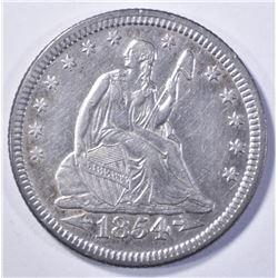 1854 ARROWS LIBERTY SEATED QUARTER AU