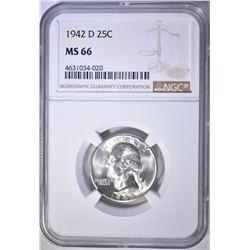 1942-D WASHINGTON QUARTER NGC MS-66