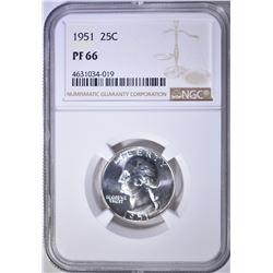 1951 WASHINGTON QUARTER NGC PF-66