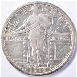 1917-S TYPE 1 STANDING LIBERTY QUARTER XF/AU