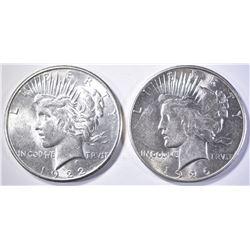 1922-S & 1926 PEACE DOLLARS  BU