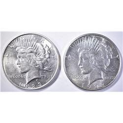 1923-D BU & 1923-S AU/BU PEACE DOLLARS