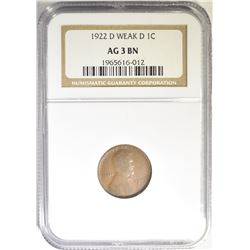 1922-D LINCOLN WEAK D NGC AG 3 BN