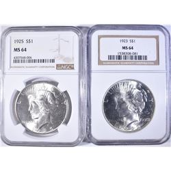 1923 & 1925 PEACE DOLLARS NGC MS-64