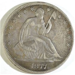 1877 SEATED HALF DOLLAR, VF