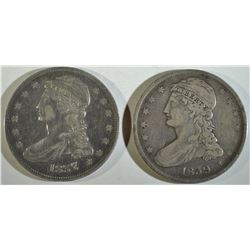 1837 & 1839 REEDED EDGE VF HALF DOLLAR