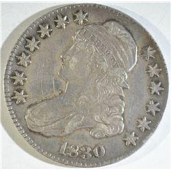 1830 BUST HALF DOLLAR, XF scratches