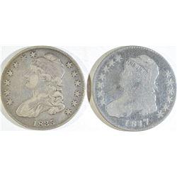 1817 VG & 1835 XF BUST HALF DOLLARS