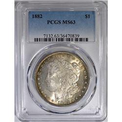 1882 MORGAN DOLLAR PCGS MS-63 COLOR