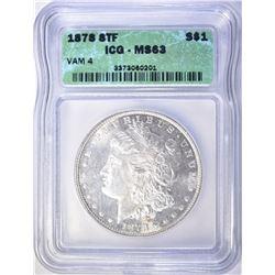 1878 8TF MORGAN DOLLAR  ICG-MS63