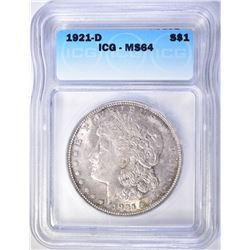 1921-D MORGAN DOLLAR ICG-MS64