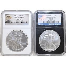 2-2014 NGC GRADED MS-70 AMERICAN SILVER EAGLES