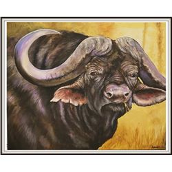 Painting:  Cape Buffalo - Original Artwork by Dogwood Design Studio