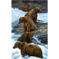 Print: DINNER PARTY: Grizzly BEARS by Gary R. Johnson Studio