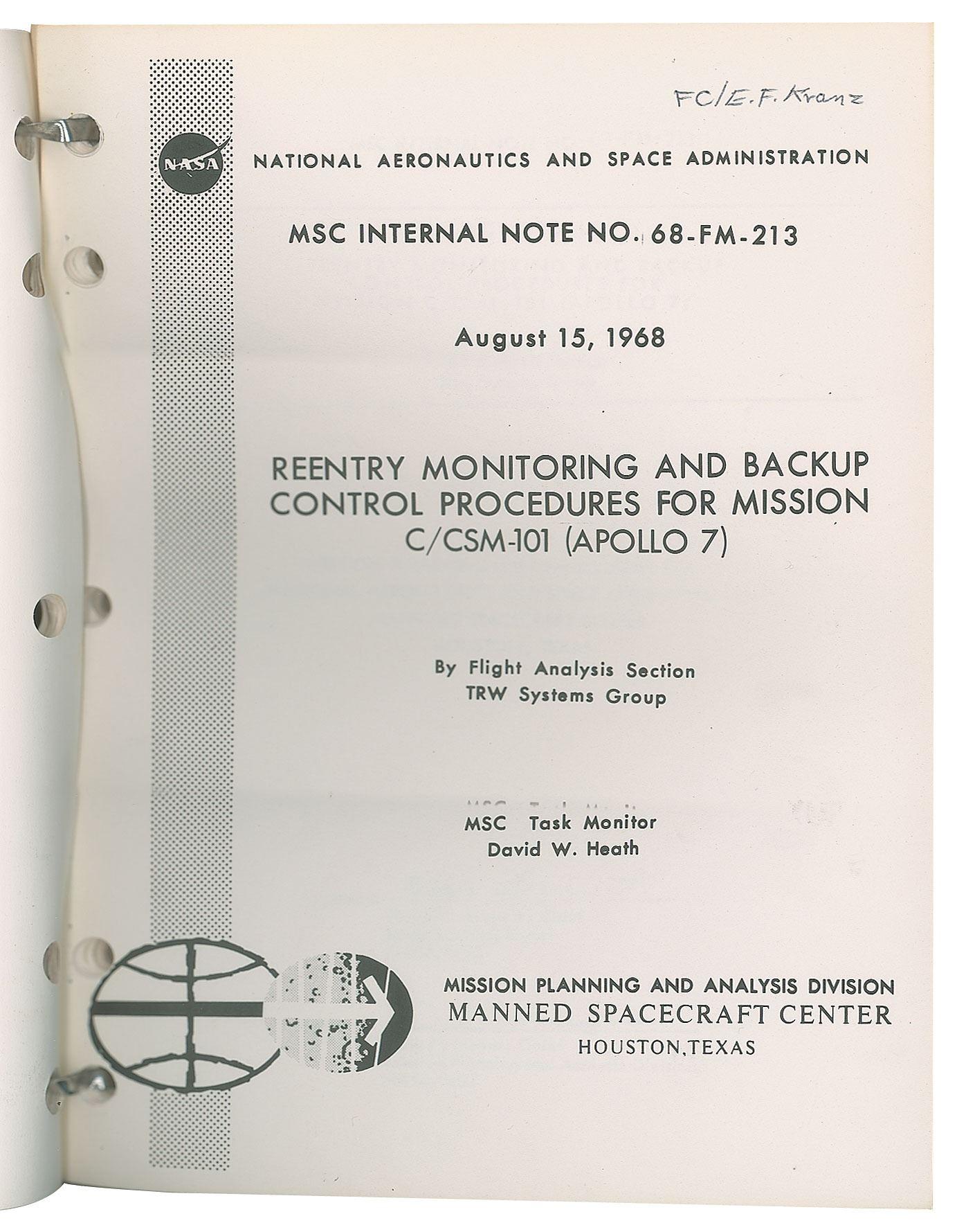 Gene Kranz's Apollo 7 Console Material