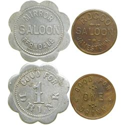 Two California Saloon Tokens  (90372)