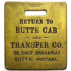 Butte Cab and Transfer Co. Brass Tag  (100501)