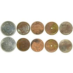 Five Different Nevada Town Tokens  (89041)