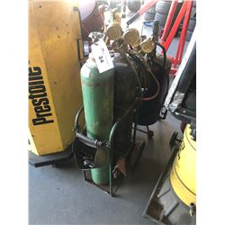 OXY-ACETYLENE CUTTING TORCH WITH BOTTLES, HOSE & CART