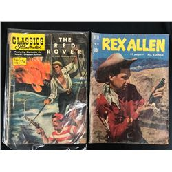 VINTAGE COMIC BOOK LOT (THE RED ROVER/ REX ALLEN)