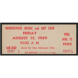 Woodstock Authentic Unused Ticket from August 15/ 1969