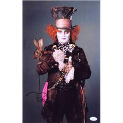 JOHNNY DEPP SIGNED ALICE IN WONDERLAND 11 X 18 PHOTO ( JSA COA)