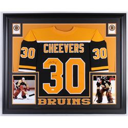 "Gerry Cheevers Signed Boston Bruins 35x43 Custom Framed Jersey Inscribed ""HOF 85"" (JSA COA)"