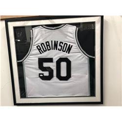 David Robinson Signed Spurs 31x35 Custom Framed Jersey (JSA COA)