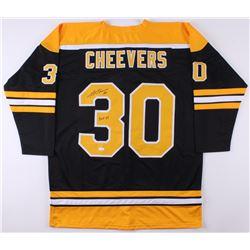 "Gerry Cheevers Signed Bruins Jersey Inscribed ""HOF 85"" (JSA COA)"