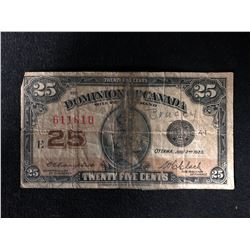1923 Shinplaster Canadian 25 Cent Bill