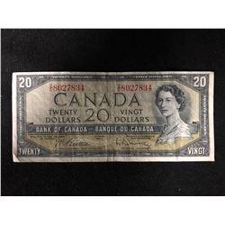 1954 TWENTY DOLLAR CANADIAN BANK NOTE
