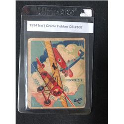 1934 NATIONAL CHICLE FOKKER D8 #108 SKY BIRDS CARD