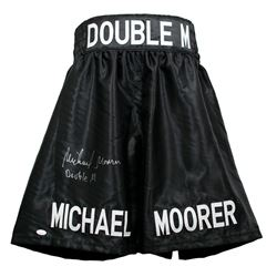 "Michael Moorer Signed Boxing Trunks Inscribed ""Double M"" (JSA COA)"