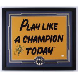 Rudy Ruettiger Signed Notre Dame Fighting Irish 22x26 Custom Framed Photo Display (JSA COA)