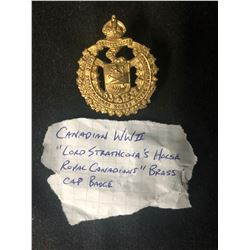 CANADIAN WORLD WAR II LORD STRATHCONA'S HORSE ROYAL CANADIANS BRASS CAP BADGE