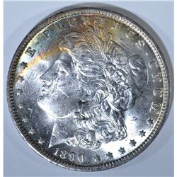 1890-O MORGAN DOLLAR, CH BU RAINBOW COLOR OBV/REV