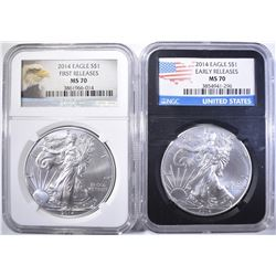 2-NGC GRADED 2014  MS-70 AMERICAN SILVER EAGLES