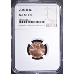 2002-D LINCOLN CENT, NGC MS-68 RED