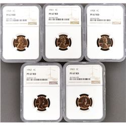 5 LINCOLN CENTS NGC PF-67 RD