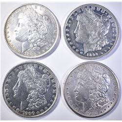 4 MORGAN DOLLARS AU/BU CLEANED