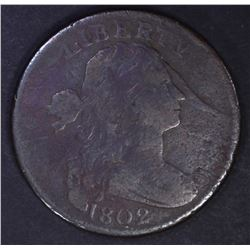 1802 DRAPED BUST LARGE CENT, FINE