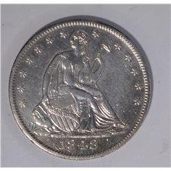 1848-O SEATED HALF DOLLAR, AU RARE!