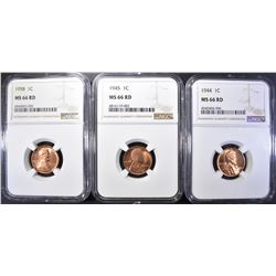 1944, 1945, 1958 NGC MS 66 RD LINCOLN CENTS