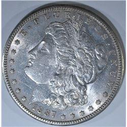 1887-S MORGAN DOLLAR, AU/BU
