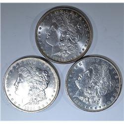 1884-O, 85-O & 87 MORGAN DOLLARS, CH BU FLASHY!