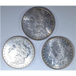 1886, 87 & 96 MORGAN DOLLARS, CH BU