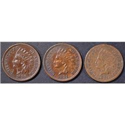 1880 AU, 1881, XF & 1881 AU INDIAN CENTS