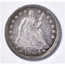 1854 WITH ARROWS HALF DIME, CH AU