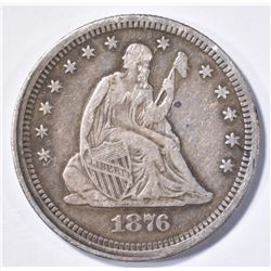 1876-S SEATED QUARTER, XF