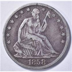 1858-O SEATED HALF DOLLAR, VF+